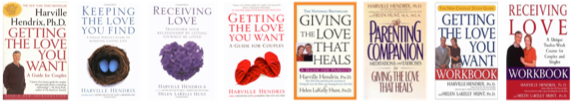 Images of the books Getting the Love You Want, Keeping the Love You Find, Receiving Love, Getting the Love You Want Workbook, Getting the Love You Want Meditations, Giving the Love That Heals, Receiving Love Workbook